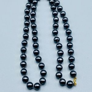 Navy Pearl Beaded Necklace